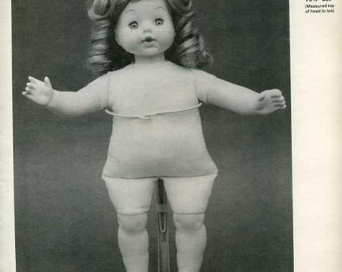 """FREE usa SHIP Byron Doll Pattern 1980's 223 Soft body for 15 1/2"""" doll Old Store Stock Sewing Pattern"""