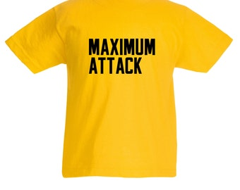 Kids Maximum Attack T-Shirt / Childrens Racing / Karting T Shirt in Black, Blue, Red, Yellow and Pink / Ages: 3-4, 5-6, 7-8, 9-11, 12-13
