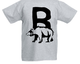 Kids Alphabet T Shirt / Letter B T-Shirt Childrens Boys Girls Bear Tee in Pink Grey Blue Yellow Orange / Ages: 3-4, 5-6, 7-8, 9-11, 12-13