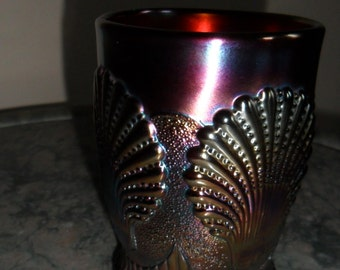 Carnival Glass Antique Vintage Dugan Blue ''BEADED SHELL''  Tumbler - Collectible Glass - Vintage Art Glass (528)