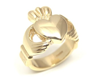 Claddagh Ring 9ct Gold Heavy Chunky 15g Fully UK Hallmarked Yellow & White Gold (CL16)