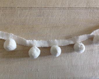 Ivory Pom Pom Trim 100% cotton