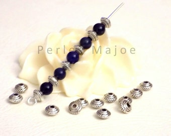 Lot de 20 perles entredoises décorées forme toupie couleur argent antique 5 x 3 mm