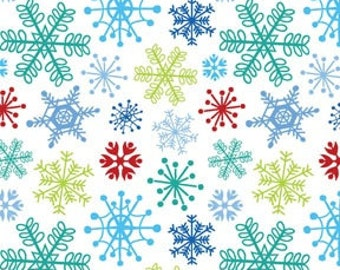 Snow Days Multi-colored Snowflakes on White Holiday Winter Christmas by the Half Yard