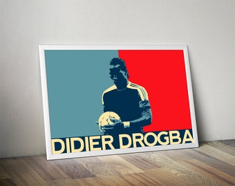 Didier Drogba Poster - Chelsea Soccer Poster- Didier Drogba poster, art, wall decor, home decor, world cup, Montreal Impact, mls, soccer