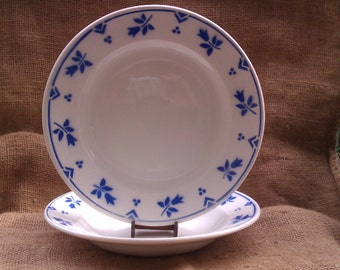 5 Vintage French Serving Plates, French Country Dining, Sarreguemines Camille Blue Floral,