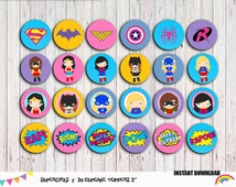 Supergirls 24 Cupcake Toppers , Superhero Girls Party Supplies, Superhero party, Boys Birthday, Superher theme  Instant Download