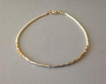 Tiny white gold delicate bracelet / Ombre beaded layering bracelet / White gold