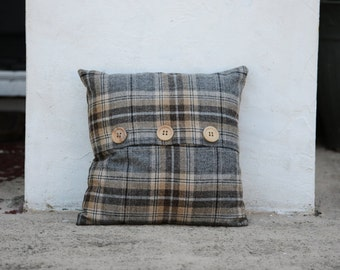 Tartan Cushion - Grey Pewter Fabric