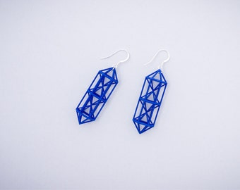 3D Printed Architectural Earrings // Deep Blue Color // Sterling Silver Hooks