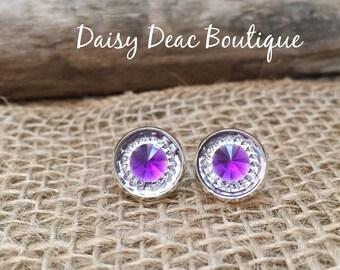 Purple Diamond Earrings-12mm-Silver, Gold, Gunmetal, Bronze, Silver Dangle