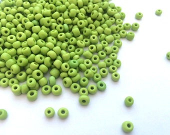 Green Yellow Glass Seed Beads 6/0, 4mm, #SDB-GLS-6/0-001