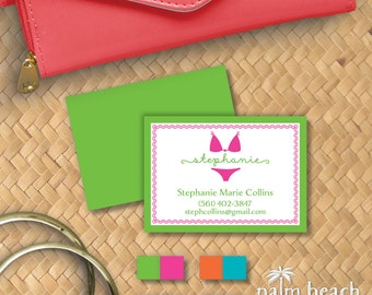 Bikini Calling Cards - Swimsuit Personal Contact Cards - Personalized Mommy Cards - Beach Business Cards - Email Phone Card Set
