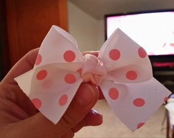 White with Pink Polka Dots Boot Bow