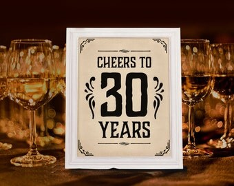 Cheers to 30 years sign. Printable 30th birthday decor. Birthday party decorations. Party supplies. Cheers sign. Birthday party decorations.