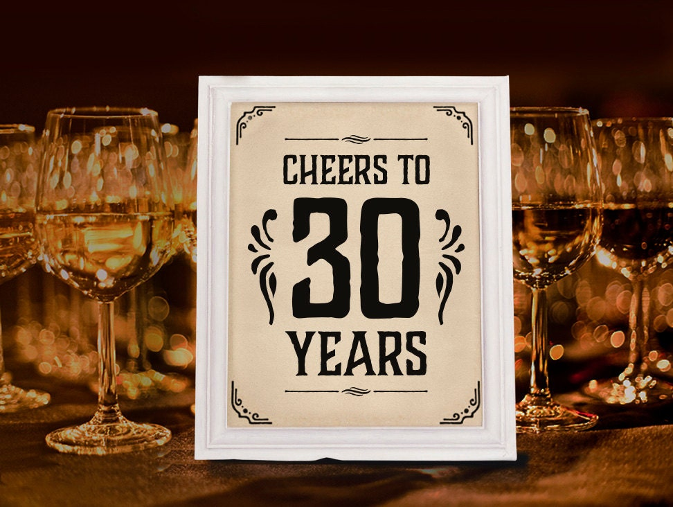 Cheers to 30 years sign printable 30th birthday decor for 30 birthday decoration ideas