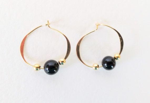 14k yellow gold black onyx and gold bead hoop earrings