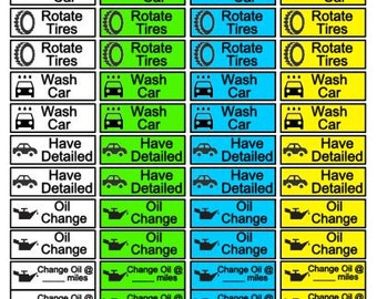 Car Maintenance Stickers for Planners and Calendars