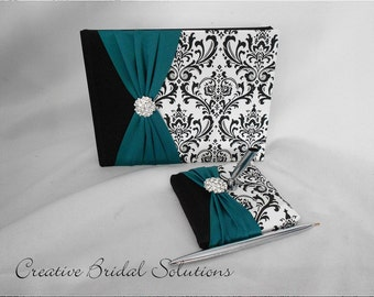 Black and White Madison Damask with Teal Wedding Guest Book & Pen Set