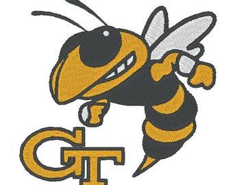 Georgia State Yellow Jackets Embroidery Design.  3 Hoop Sizes