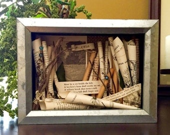 Poetry Shadowbox Collage , Samuel Rogers Shadowbox Assemblage