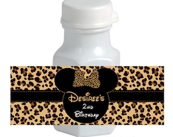 Minnie Mouse mini Bubble Labels - Leopard Cheetah Animal Print