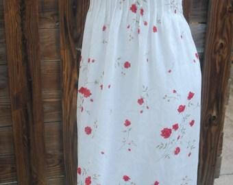 Vintage Positive Attitude Dress, Sz 10 tall, floral, pintuck bodice, tie back