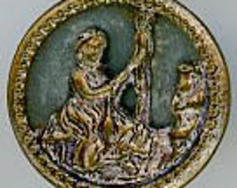 Antique Button- Marguerite and her Spinning Wheel