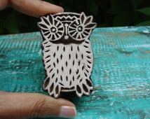 Cute Fat Indian Owl wood Stamp, Kitsch Barn Owl Textile Stamp, Pottery Stamp, Indian Wood Stamp, Tjap, Blockprint Stamp, Scrapbook stamp