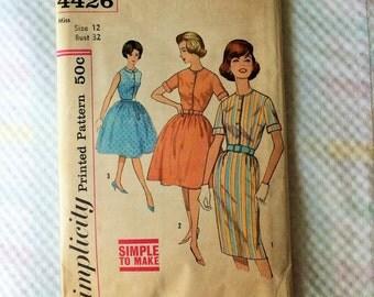 Vintage UNCUT Simplicity 4426 New Misses Size 12 Bust 32 Dress Pattern 1950's