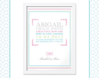 Baby Boy or Baby Girl Birth Announcement - Classic - New Baby gift