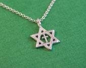 Cross in Magen David Necklace / Silver Star of David Necklace / Jewish Star Necklace / Star Of David Charm / Judaika Jewelry / Jewish