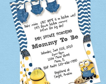 Minion Baby Shower Invitations, Customize Instant Download
