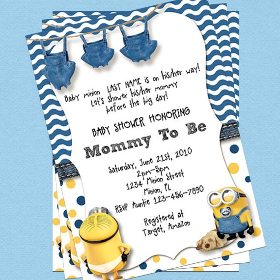 minion baby shower invitations customize instant download
