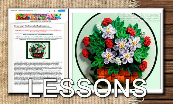 Five Quilling Lessons for Beginners Demo PDF Art Tutorial Digital Book - Flowers Leaves Berry Basket Butterfly Tutorial in handmade