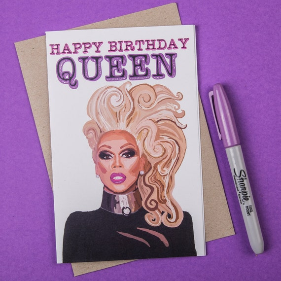 Birthday Card, Rupaul Card Drag Queen Card, Blank Card (100% Recycled Paper) (Gay Card, Queer