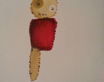 Acrylic creepy doll A4 art print.