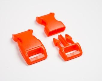 "10 x Orange paracord buckles 5/8"" coloured side release large webbing"