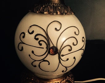 Mid Century Modern Table Lamp with Lit Globe