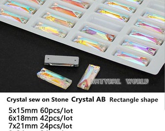 All size Baguette Sew On Rhinestones Crystal AB Flatback 2 Holes Sew-on Stone Glass Crystal  Sewing Supplies Stones For Wedding Dress