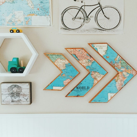 Wall Decoration Ideas With Ribbons : World map arrows wooden wall decor by grainsofgrace on etsy