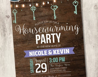 printable housewarming invitation, rustic wood housewarming party invite hanging lights and keys teal and purple plum customize personalize