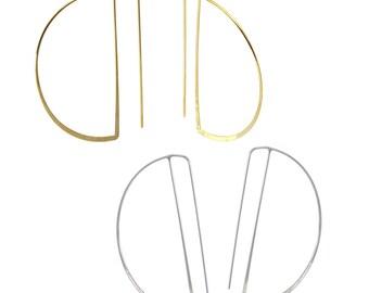 Geometric Brass Earrings (Minimalist Geometric Genuine Gold or Rhodium Plated Modern Brass Jewelry, BE140-G, BE140-S)