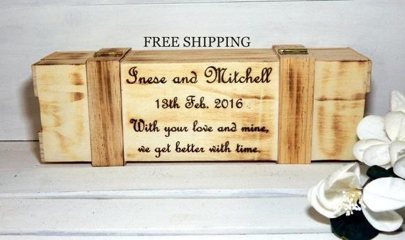 Wedding Gift Box Wine : Wedding Wine Box ,Personalized Gift, Wine Box, Free shipping, Wine and ...