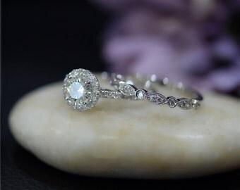 Charles & Colvard Round Moissanite Ring Set Diamond Accent Solid 14K White Gold Ring Set Engagement Ring Set Wedding Ring Set Bridal  Set