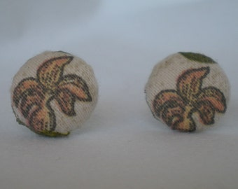 Fabric Button Earrings, A Garden Variety