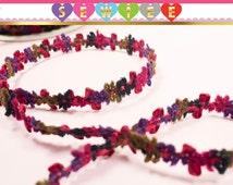 "3yds 1/2"" wide Pink black green purple Chenille Rococo Decorative Braid Picot Trim Rococo Trim Floral Flower Trim Fluff Braid Trim V1004"