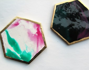 Juicy Galaxy // Set of 2 Gold leaf Marbled Coasters - FREE SHIPPING