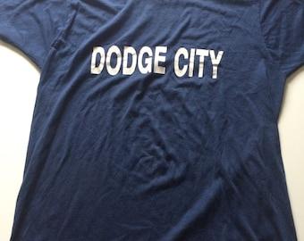 RARE Vintage 80s DODGE CITY T Shirt