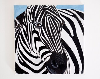 Zebra Painting, Original Acrylic Art on Canvas